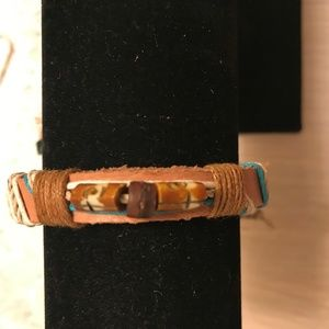 Jewelry - Unisex Brown Leather Diffuser Wood Beed Bracelet